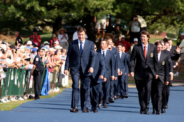 Ryder Cup Preview: ThursdayNick Faldo, captain of the European team, and Paul Azinger, captain of the U.S. team, walked out with their teams during the opening ceremony.
