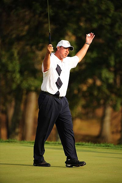 """Boo Weekley encouraged the crowd to raise the volume during the four-ball matches, and they did, cheering """"Boooooo."""""""