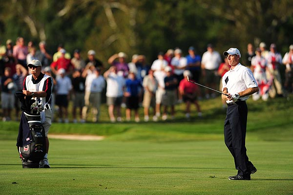 Furyk and Perry took control of the match on the back nine and went 1 up with a birdie on the par-4 12th.
