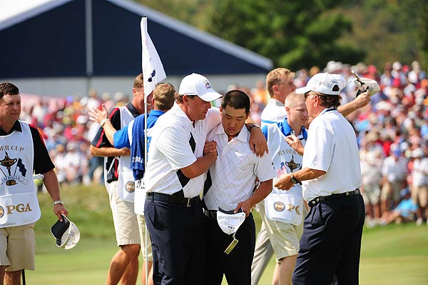 Friday Foursomes at the Ryder Cup                       Phil Mickelson and Anthony Kim squared their match against Padraig Harrington and Robert Karlsson for a half point.