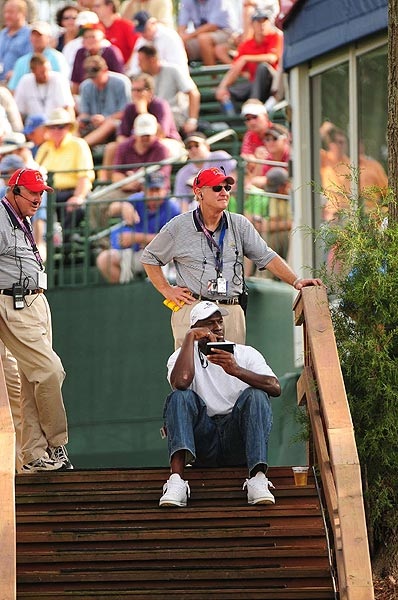 Michael Jordan made an appearance during the four-ball competition on Friday.