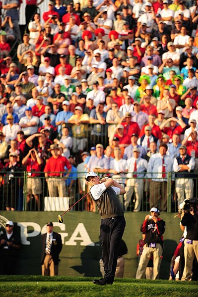 The United States' Justin Leonard and Hunter Mahan were 3 up on the 15th hole over Henrik Stenson and Paul Casey.