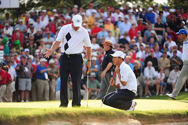 Mickelson and Kim trailed the Euros after the first hole, but squared things with a birdie on the par-3 third hole.