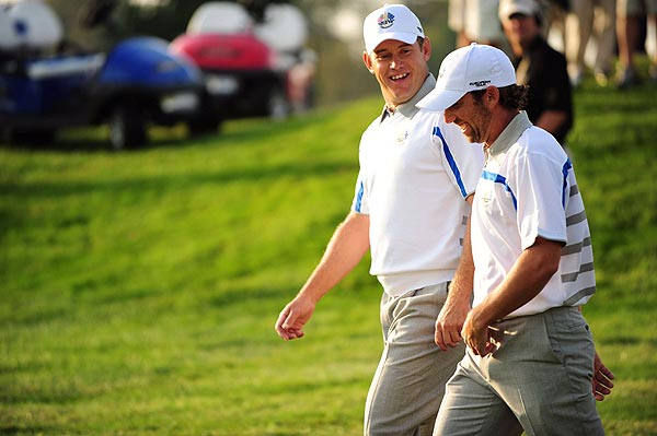 The power pairing of Sergio Garcia and Lee Westwood birdied the first and fourth holes for control of their match against the United States' Kenny Perry and Jim Furyk.