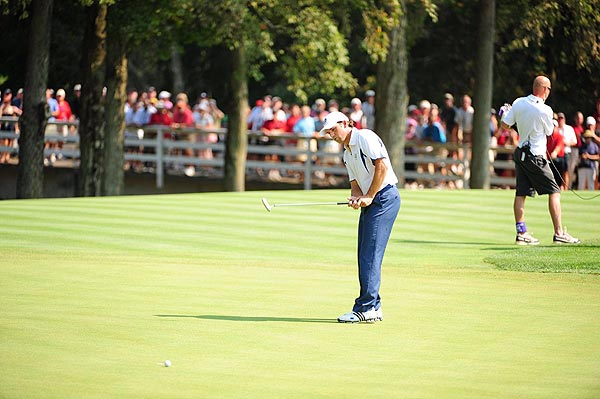 Garcia missed several putts, sent two balls into the water on No. 7 and didn't win a hole until the tenth.
