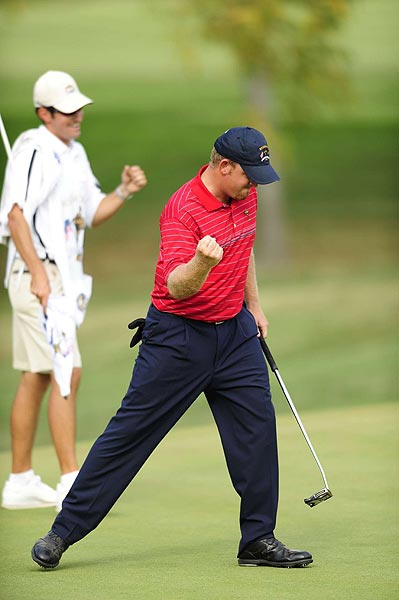 J.B. Holmes came up with a big point over Soren Hansen, winning 2 & 1 in his first Ryder Cup appearance.