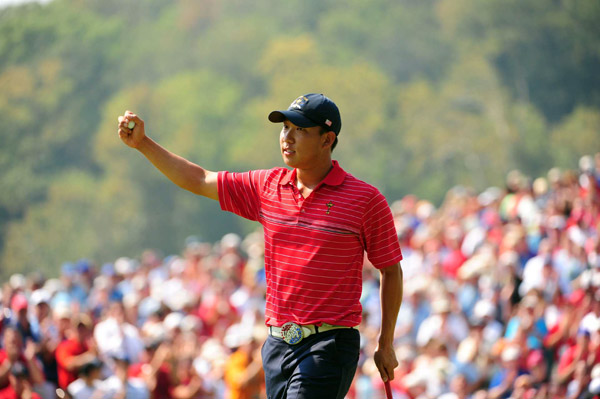 Anthony Kim got off to a hot start early in the day in his match against Sergio Garcia, going 3 up at the turn.