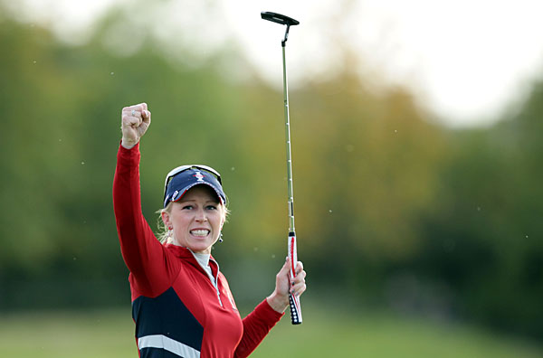Morgan Pressel birdied the 17th to help her and partner Cristie Kerr defeat Suzann Pettersen and Caroline Hedwall, 1 up.