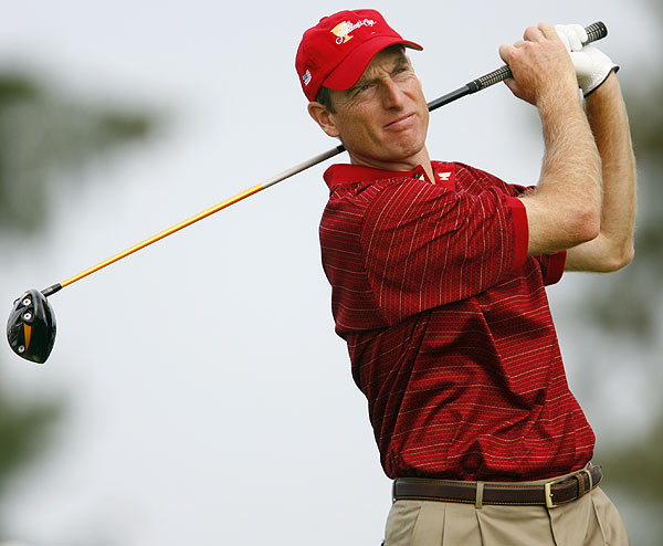 """Jim Furyk is just such a steady player, and I think he's like nobody -- none of the players are intimidated to play with him,"" said U.S. team captain Jack Nicklaus when asked about Furyk. ""They all enjoy playing with him because they know they can always count on him. He's always right there, and that's a comforting feeling for his partner because his record has been pretty good probably because of that."""