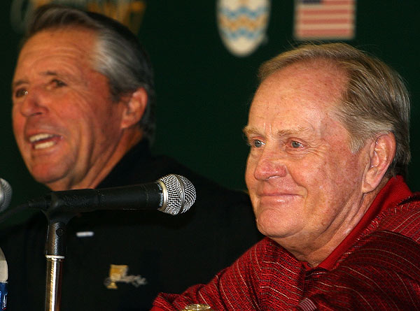 "Tuesday Practice at the Presidents Cup                       Presidents Cup captains Gary Player and Jack Nicklaus gave a press conference Tuesday . ""We have had some great matches the last two times. Only one stroke has really separated the two teams in the last two matches,"" Nicklaus said."