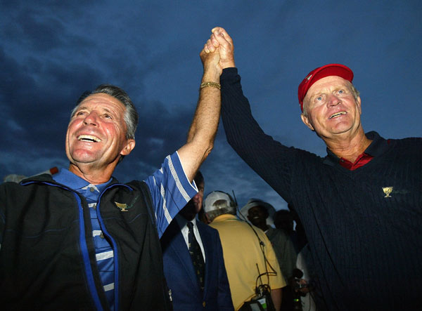 1. Fancourt, South Africa, 2003. After Els's putt, it became clear there wasn't enough light to continue. All the players had plans to fly out the next day, not come back and play more golf. Captains Jack Nicklaus and Gary Player agreed in the name of sportsmanship to call it a draw and share the Cup. It was a bitter pill for many, who thought the captains took the easy way out, but either way it was an indelible moment that helped forge an identity and put the Presidents Cup on the map.