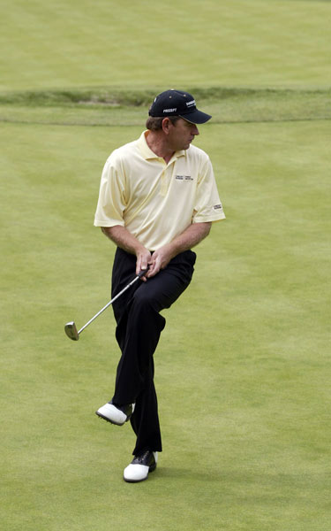 9. Fancourt, South Africa, 2003. Nick Price and Kenny Perry reached the 18th green all square, but Price had a five-footer for birdie. The normally placid Price missed the putt and was so upset with himself he snapped his putter over his knee.