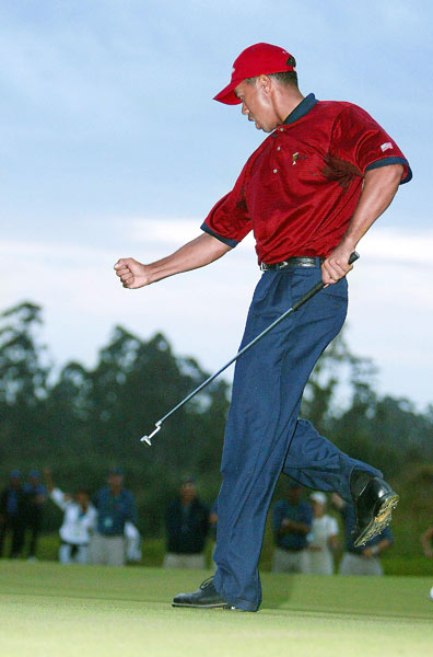 3. Fancourt, South Africa, 2003. After the Cup ended in a tie, Woods and Ernie Els entered a one-on-one, sudden-death playoff to decide the whole thing. After pars on the first two holes, both faced par putts on the third. Woods had 15 feet, Els eight feet. With daylight quickly fading, Woods drained his putt.
