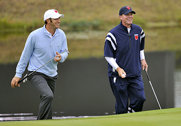 Johnson and Stricker played together Monday while sharing a few laughs.