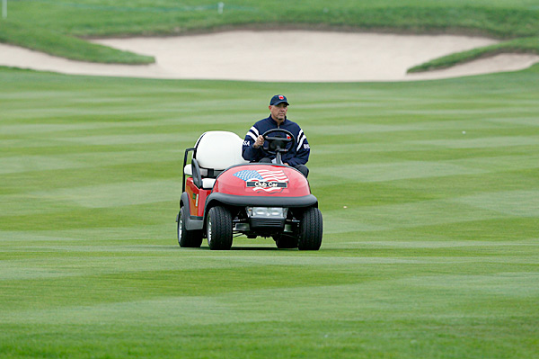 Tom Lehman, an assistant captain for the U.S. team, was prowling the course Monday.
