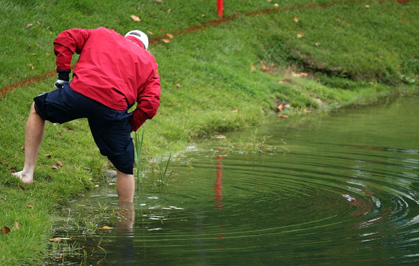During Friday's matches in 2007, Woody Austin decided to play his ball from the water after hitting his drive into the hazard on No. 14.