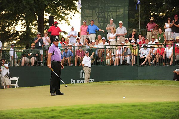Phil Mickelson just missed the playoff, missing his birdie putt on the final hole.