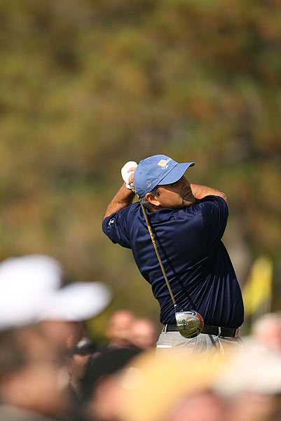 Angel Cabrera won his match against Woody Austin, 2 and 1.