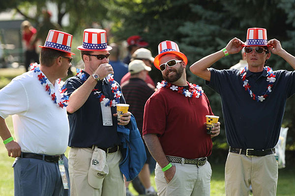 Fans of the U.S. team showed their pride at the Royal Montreal Golf Club.