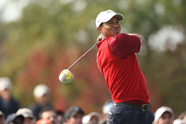 Woods stormed back and was 1 up after 16 holes, but he faltered on the 17th and 18th.