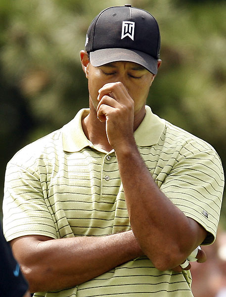 Round 2 at the BMW Championship                                                      Tiger Woods missed several birdie chances early in his round.