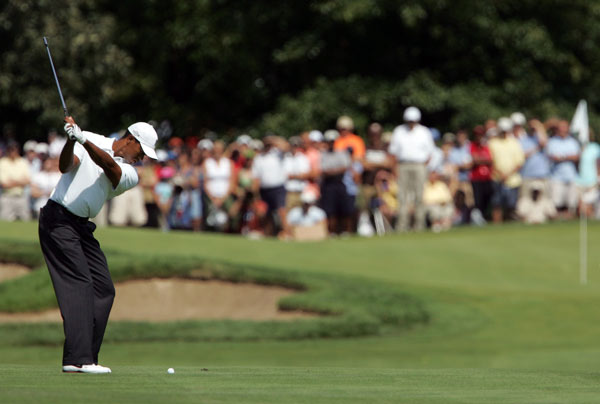 Round 3 at the BMW Championship                                                      Tiger Woods jumped into the lead with three birdies on the front nine.