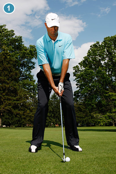 DRILL: HOW TO PAUSE AT THE TOP                                                      The biggest problem that most players have with iron shots is rushing the transition. So when you practice your iron shots, exaggerate your pause at the top. Instead of a 1-2-3 count (1=takeaway, 2=at the top, 3=downswing), try a 1-2-2-3 count (1=takeaway, 2=at the top, 2=still at the top, 3=downswing). The pause will make it impossible to rush your downsing and help you ingrain a smoother transition.                                                      Address is beat No. 1.
