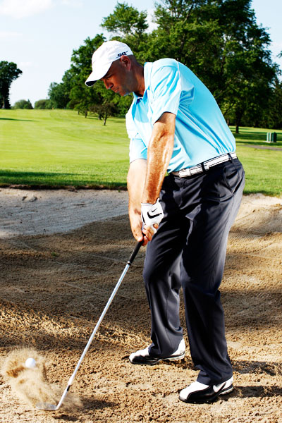 Stewart Cink: How to Hit All-Feel, No-Think Shots                                              4. FROM THE SAND                                              The best strategy for playing bunker shots is to develop good technique and then choose different clubs for specific situations. For example, I'll use my 60-degree wedge for a high, short shot, but for a lower shot where I need the ball to roll across the green, I might use a 9-iron. It just makes bunker play simple when you hit the same shot every time, which is why I recommend changing your club for the situation, not your swing.