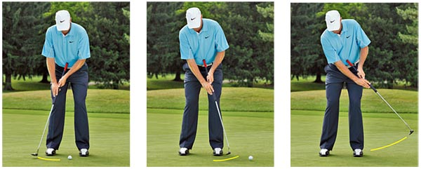 PUTTING STROKE                                              Your forward putting stroke doesn't need to mirror your backstroke. In fact, your forward-stroke can be considerably longer. Acceleration through impact is what causes a longer forward-stroke; that's a good thing.