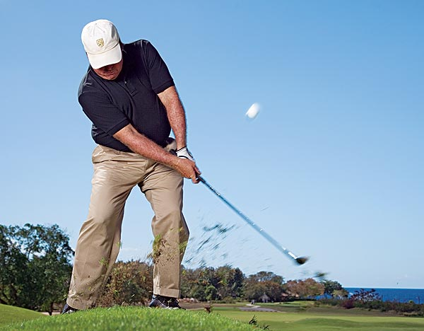 How to Pitch From the Rough                        You missed the green. Big deal! Here's how to make par anyway                                               By Mike Adams                       Top 100 Teacher                                                                     This story is for you if...                                              • You tend to miss a lot of greens.                                              • You think all pitches are the same.                                              The Situation                                              Your approach shot missed the green by only a few yards and the ball is in the rough, but not too deep. However, you're not sure your regular pitching motion will create clean contact and allow you to leave the ball near the hole.                                              The Solution                                              Use your regular pitch swing, but make it steeper (to get the ball out) and vary your stance and grip (to move the ball the right distance). Here's how: