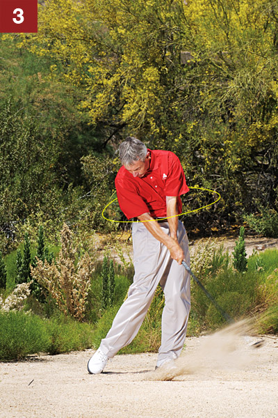 STEP 3                                              Your goal is to strike the ball and the hardpan at the same time. Notice how your shoulders, hips and knees rotate toward the target. Turning like this on your downswing and all the way to your finish guarantees you won't come down too steeply and bounce the club off the ground.