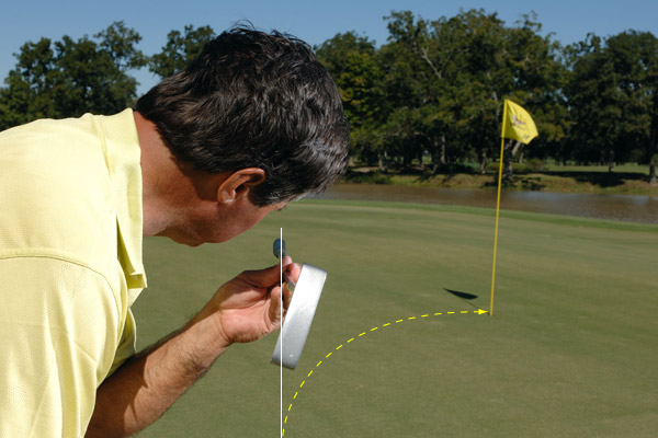 Set your eyes parallel to your start line, not the ball-hole line. This gives the putt the best chance of going in.