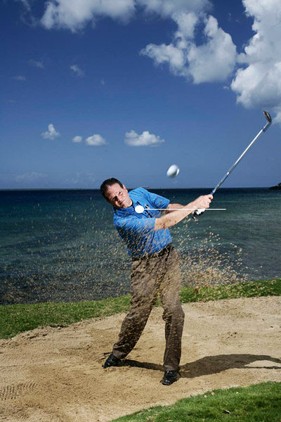 How to Escape Wet Sand                            Here's how to adjust your swing to splash it like it's dry                                                       By Ed Ibarguen                           Top 100 Teacher                                                      This story is for you if...                                                      • You're an early-morning golfer and the course is always a bit damp.                                                      • You struggle from wet sand after heavy rainfall.                                                      The Situation                                                      You hit your approach shot into a greenside bunker and find that the ball is sitting in wet sand.                                                      The Solution                                                      Like most sand shots, your goal is to slide your club under the ball on an angle that allows the clubhead to reach its lowest point just in front of the ball. Unlike most sand shots, however, the ones you play from wet sand have to be fast and forceful. Wet sand is heavy, and if you decelerate into impact, the shot will go nowhere.