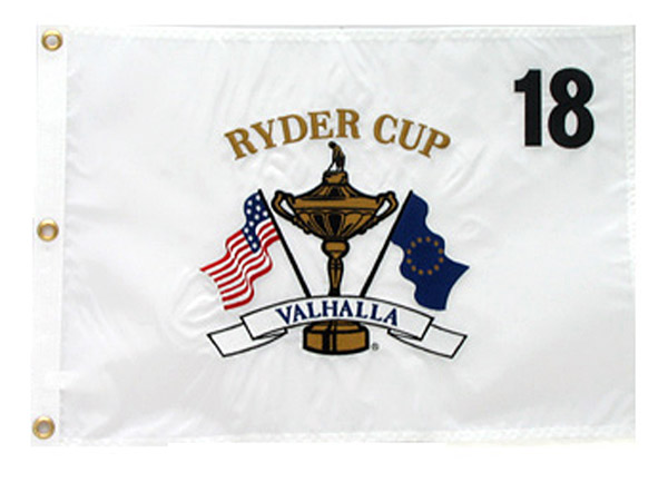 Embroidered white pin flag, $38.95