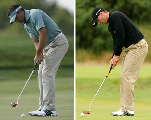 A major difference                                                      The biggest difference between a belly putter and a standard-length model is the most obvious—length. But that doesn't mean you should putt with a taller posture. Stick to your regular putting stance and grip. Take a look at Sergio with his old flatstick and his new belly putter. His posture is the same.