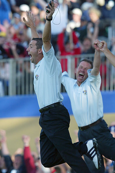Sergio Garcia jumped for joy after McGinley holed the winning putt.