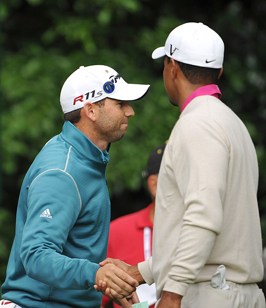 Woods was paired with Sergio Garcia.