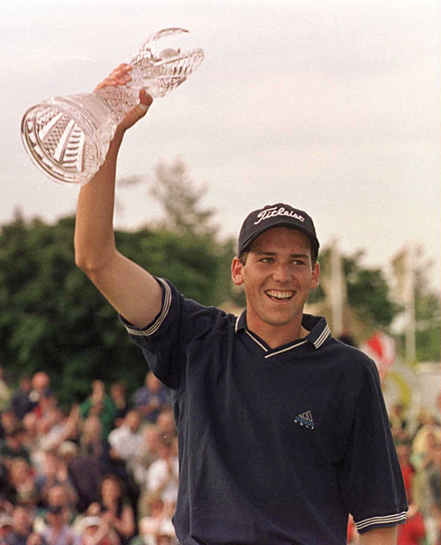 Sergio Garcia                       Sergio won twice at age 19 -- first at the 1999 Murphy's Irish Open (pictured) and then at the 1999 Linde German Masters.