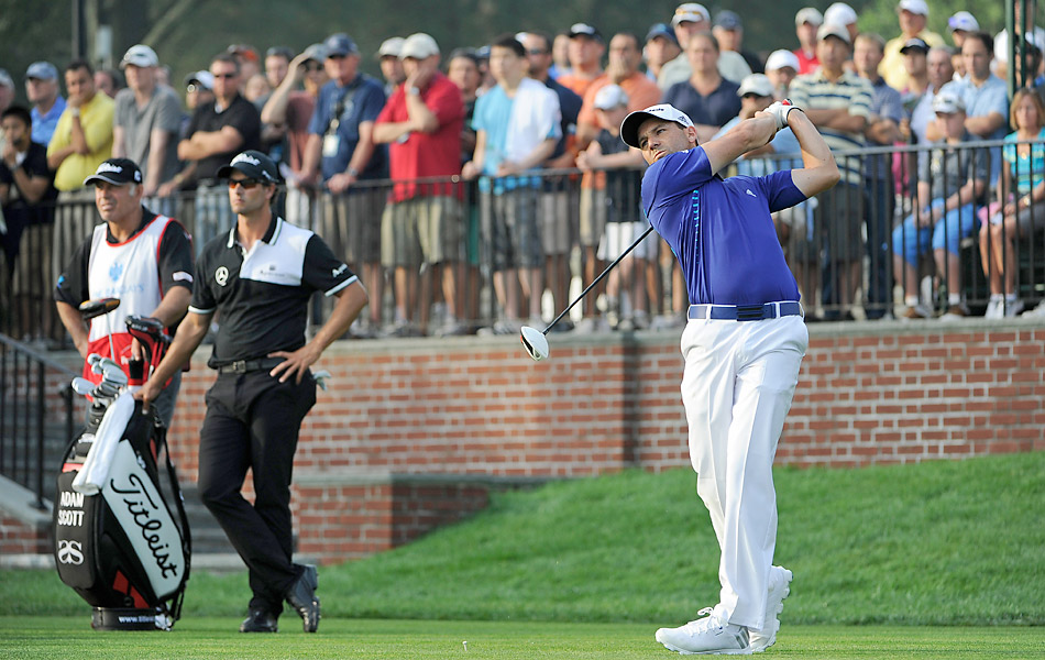 Coming off a win on Monday at the Wyndham Championship, Sergio Garcia fired a five-under 66 to get within two of Harrington.