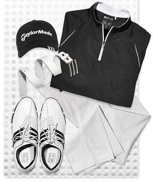 Sunday SHIRT: Quarter-zip Mock turtleneck ($75) PANTS: ClimaCool ($75) SHOES: Tour 360 LTD ($250) CAP: TaylorMade Tour ($20) BELT: Trophy ($49.99)