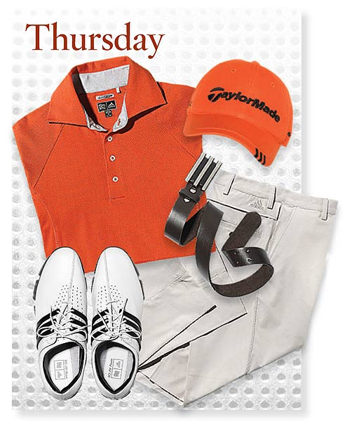 """What Sergio Garcia is wearing at Augusta                       """"Sergio likes color,"""" says Tiss Dahan of Adidas, so look for him in orange, lime-green and dark red. He also goes for more modern looks, such as trousers with ventilation panels. """"There is a correlation between what's visible on Tour and what consumers are interested in,"""" Dahan says. """"We absolutely see an impact when an item is visible. [On a Monday after a big tournament] the phone is ringing off the hook.""""                                              Thursday SHIRT: ClimaCool Motion Mesh polo ($70) PANTS: ClimaCool ($75) SHOES: Tour 360 LTD ($250) CAP: TaylorMade Tour ($20)BELT: Trophy ($49.99)"""
