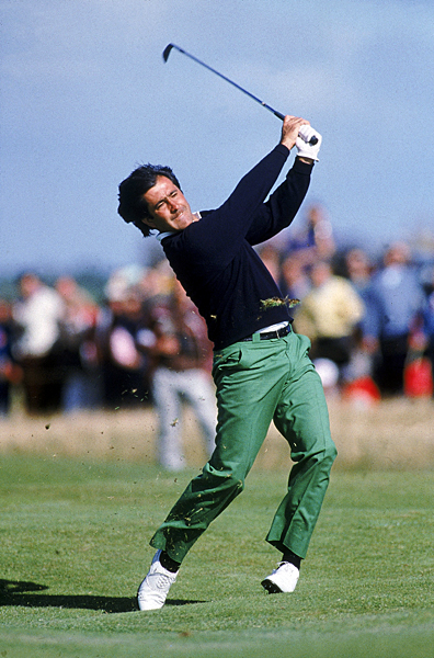 Seve in full flow in the second round of the British Open at Royal Lytham in 1988, in those vivid green trousers with his hair blowing in the wind.