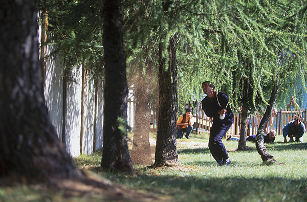 """That Shot"" on the 18th hole in the Canon European Masters at Crans Montana in Switzerland in 1993. He ignored caddie Billy Foster's advice to chip out sideways, and I clearly recall Billy (who now caddies for Lee Westwood) muttering as he walked to where I was lying down taking the pictures, ""He's got no f---ing chance, but I somehow know he will prove me wrong!"" Seve laid the face of his sand wedge wide open and sent the ball almost vertically over the wall, to the edge of the green. From there he chipped in for the most unbelievable birdie. Pure Seve!"