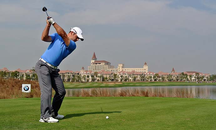 Paul Casey hits his tee shot on the ninth hole during the final round of the BMW Masters at Lake Malaren Golf Club on Oct. 27, 2013 in Shanghai. Casey finished T8.