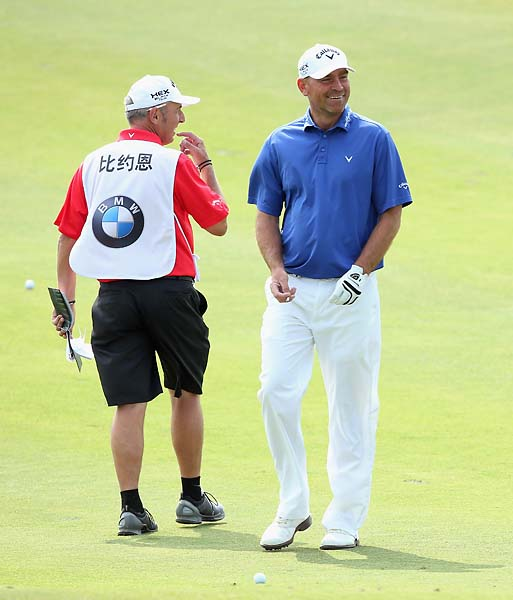 Thomas Bjorn in action during the final round of the BMW Masters at Lake Malaren Golf Club on Oct. 27, 2013 in Shanghai. Bjorn finished T5.