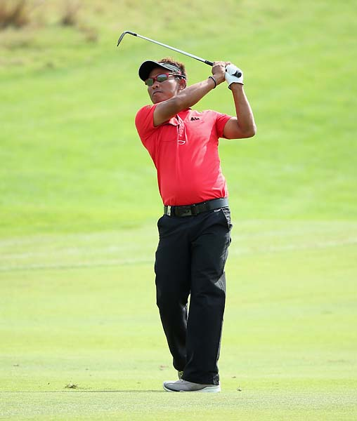 Thongchai Jaidee in action during the final round of the BMW Masters at Lake Malaren Golf Club on October 27, 2013 in Shanghai. Jaidee finished tied for second with Francesco Molinari.