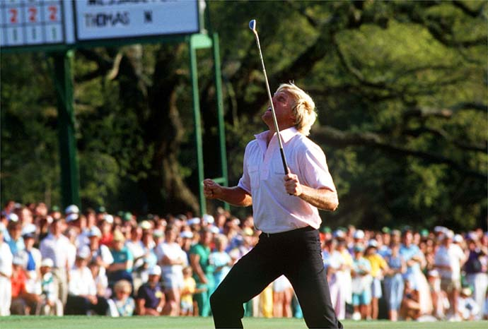 Greg Norman erupts in anger after missing what would have been the winning putt during the 1987 Masters.