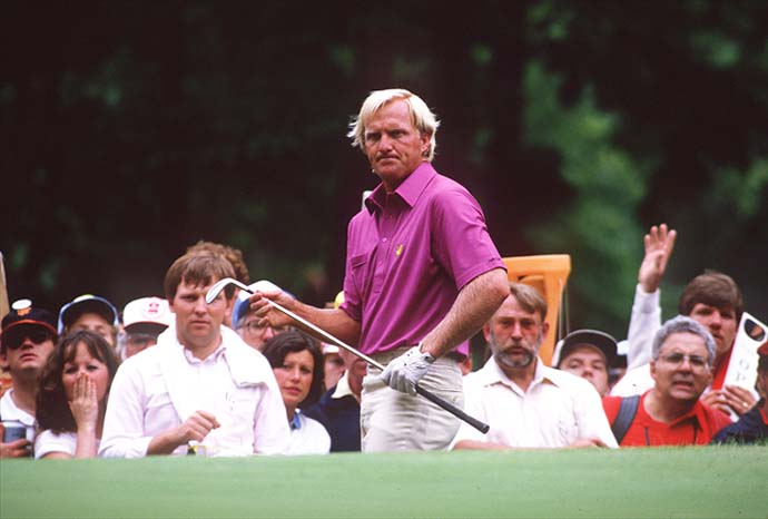 An unhappy Greg Norman watches his ball roll off the green during the playoff round at the 1984 US Open at Winged Foot in Mamaronek, N.Y.