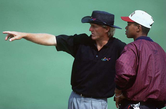 The Shark and the Tiger: Greg Norman and Tiger Woods during a practice round at the 1995 Masters.