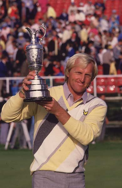 A victorious Greg Norman with the claret jug at the 1986 British Open at Turnberry.